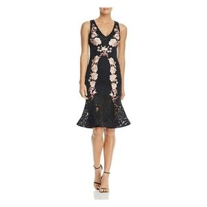 Betsy & Adam black lace floral applique dress 2